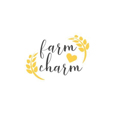 Farm quote lettering typography. Farm charm Vettoriali