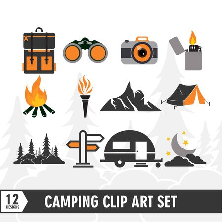 Camping clip art illustration set vector design template