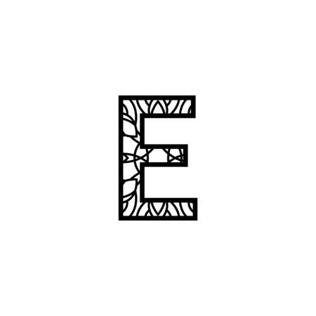 Initial e mandala  design template illustration