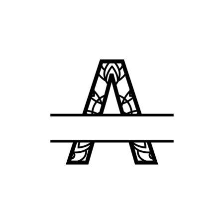 Initial a split monogram mandala vector design template illustration Векторная Иллюстрация