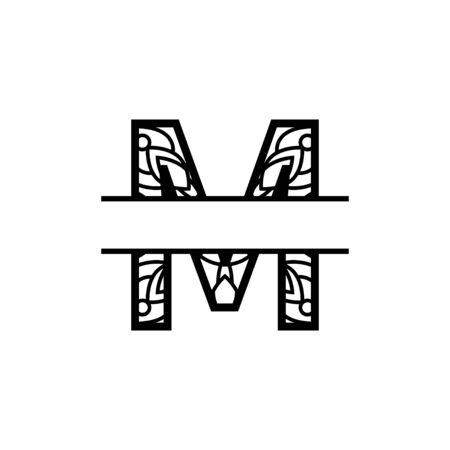Initial m split monogram mandala design template illustration Векторная Иллюстрация