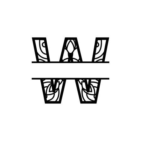 split monogram mandala vector design template illustration