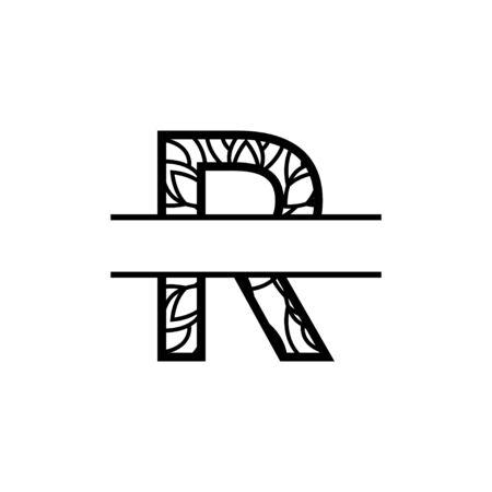 split monogram mandala vector design template illustration Vettoriali