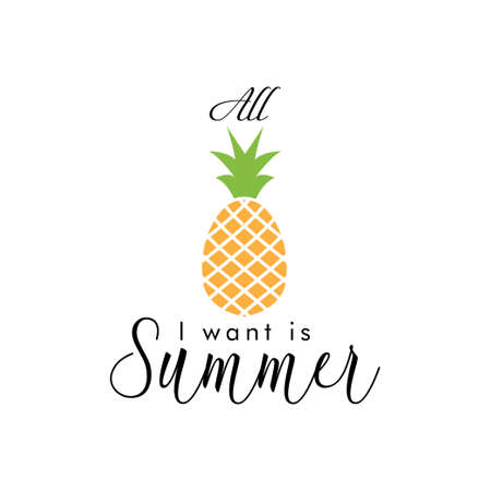 All i want is summer. quote lettering typograhpy Ilustracja