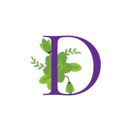 Floral letter alphabet initial vector design Ilustracja