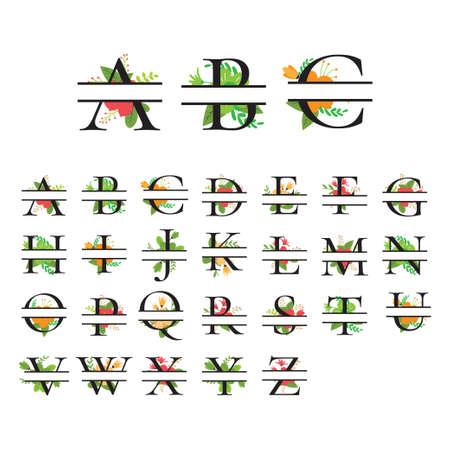 Monogram floral split letter alphabet vector design Ilustracja