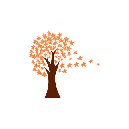 Tree fall icon design template vector isolated illustration
