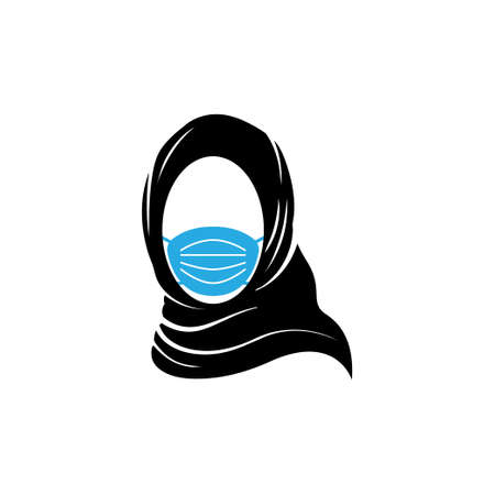 Hijab woman wearing face mask icon design template vector