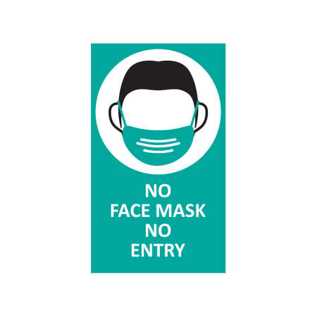 Face mask signage template vector isolated