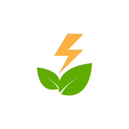 Energy leaf icon logo design template vector isolated