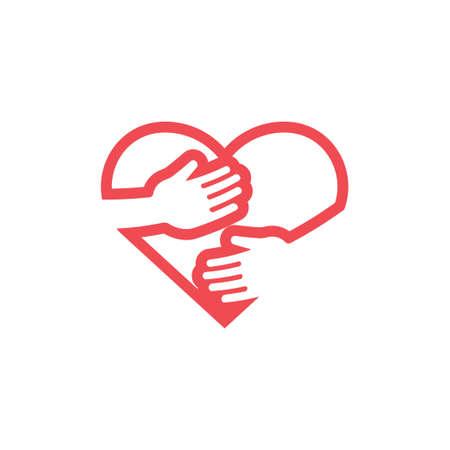 Hug heart icon design template vector isolated Illustration