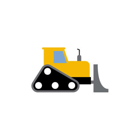 Bulldozer icon design template vector isolated illustration Illustration