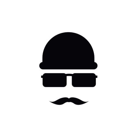 Spy with mustache icon design template vector isolated