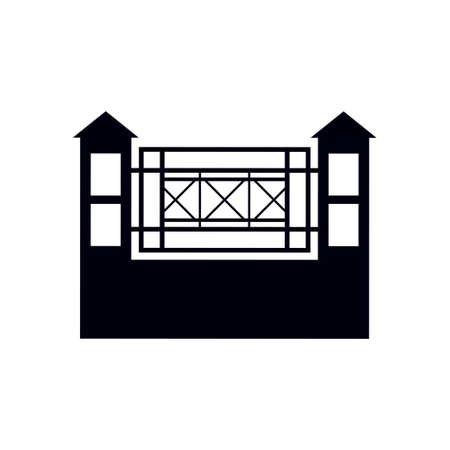 Fence gate icon design template vector isolated illustration