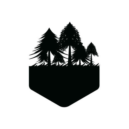 Pine forest icon design template vector isolated