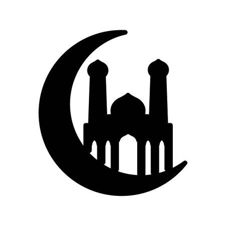 Crescent moon mosque islam icon design template vector
