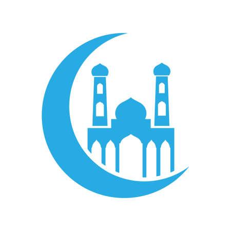 Crescent moon mosque islam icon design template vector 免版税图像 - 167145351