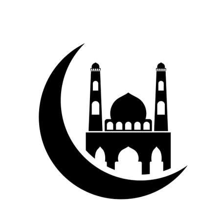 Crescent moon mosque icon design template