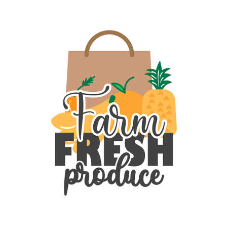 Farm fresh produce quote lettering typography illustration