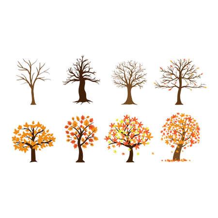 Fall tree icon design set bundle template isolated Иллюстрация