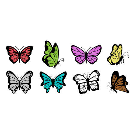 Butterfly icon design set bundle template isolated