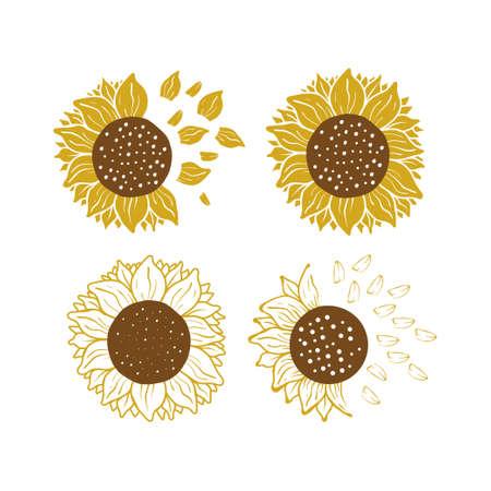 Sunflower icon design set bundle template isolated