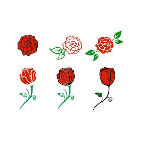 Rose icon design set bundle template isolated Иллюстрация