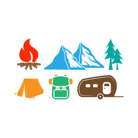 Camping icon design set bundle template isolated