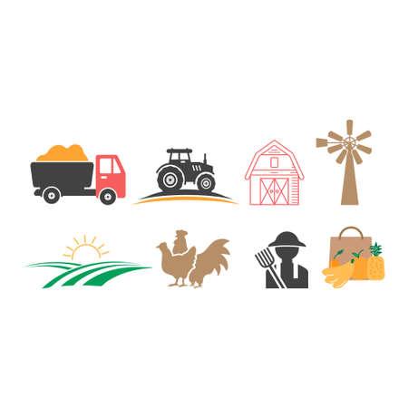 Farmhouse icon design set bundle template isolated