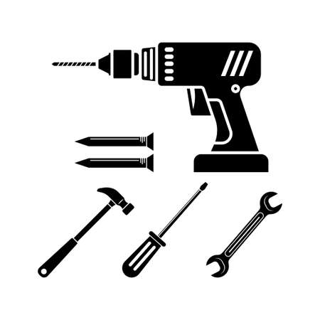 Tool icon design set bundle template isolated