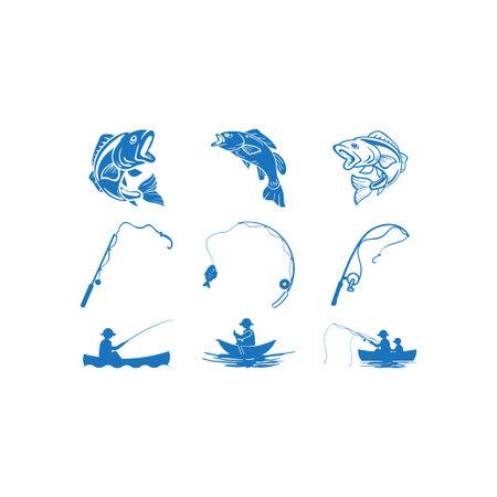 Fishing icon design set bundle template isolated