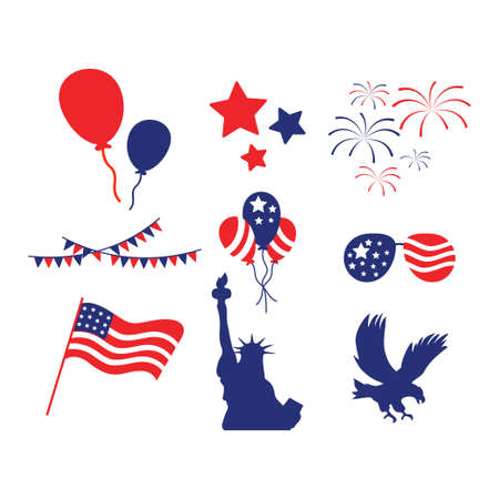 Usa 4th july icon design set bundle template isolated