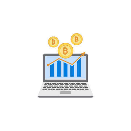 Bitcoin investment icon illustration clipart template Иллюстрация