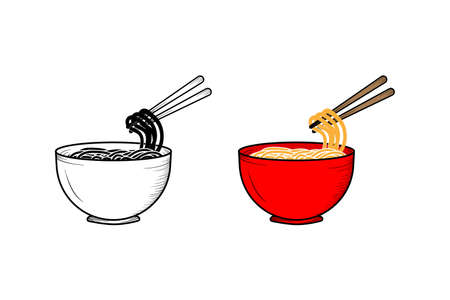 Noodles hand drawn illustration sketch and color