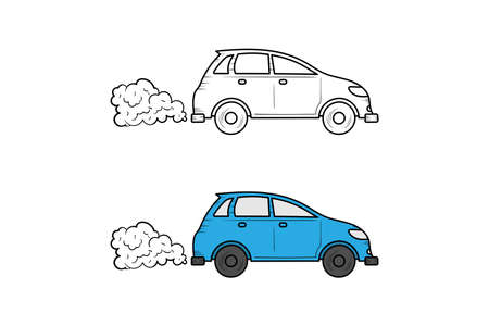 Car exhaust pollution hand drawn illustration sketch and color