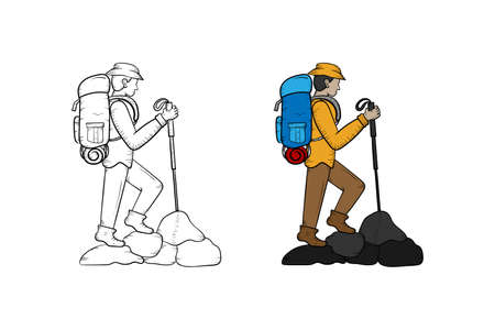 Hiking hand drawn illustration sketch and color