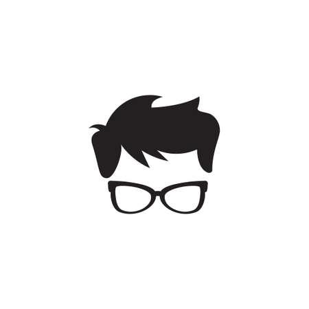 Nerd geek boy icon design template illustration