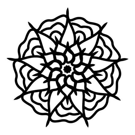 Ethnic Mandala ornament. Ornamental ethnic. Templates with doodle tribal mandalas. Mandala line art pattern. Illusztráció