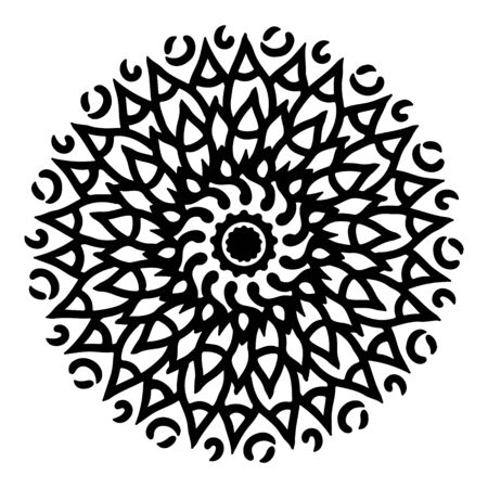Ethnic Mandala ornament. Ornamental ethnic. Templates with doodle tribal mandalas. Mandala line art pattern. Ilustracja