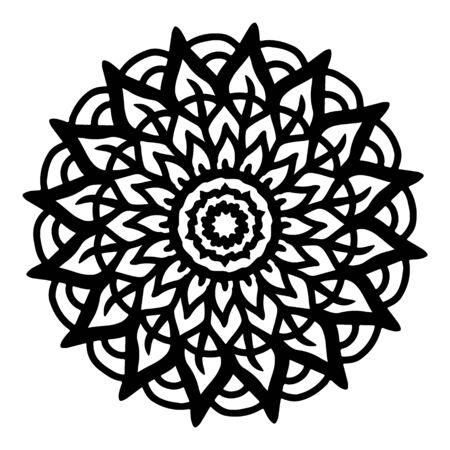 Mandala line art black and white. Pattern flourish mandala. Template design background.
