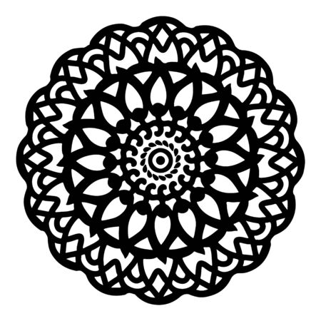 mandala round pattern vintage. logo with doodle tribal. henna indian and arabic motif.