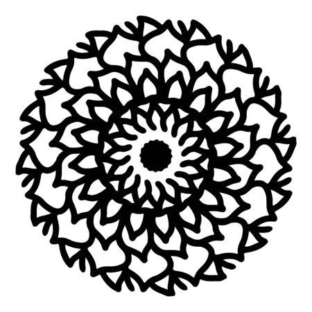 mandala round pattern vintage. logo with doodle tribal. henna indian and arabic motif.