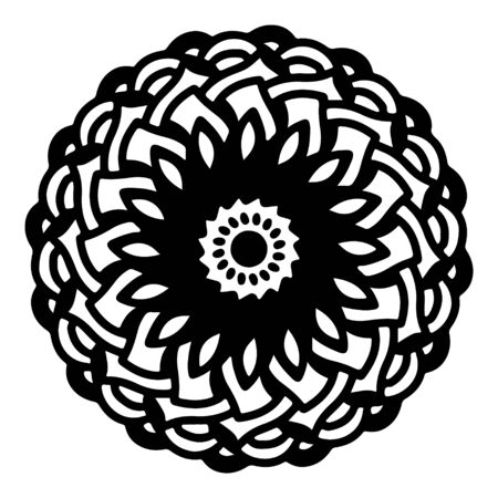 mandala round pattern vintage. logo with doodle tribal. henna indian and arabic motif. Foto de archivo - 143287961