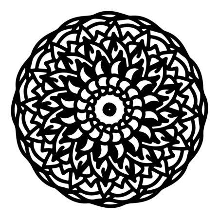 mandala round pattern vintage. logo with doodle tribal. henna indian and arabic motif. Foto de archivo - 143287962