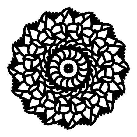 mandala round pattern vintage. logo with doodle tribal. henna indian and arabic motif. Foto de archivo - 143287965