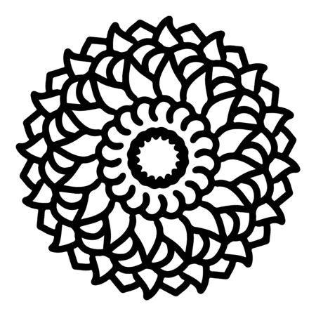 mandala round pattern vintage. logo with doodle tribal. henna indian and arabic motif. Foto de archivo - 143287976