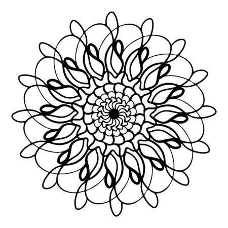 mandala round pattern vintage. logo with doodle tribal. henna indian and arabic motif. Foto de archivo - 143287979