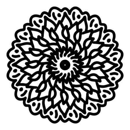 mandala round pattern vintage. logo with doodle tribal. henna indian and arabic motif. Foto de archivo - 143288147