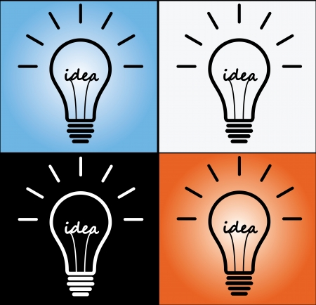 Idea Concept using light bulb in 4 different designs Stock Photo - 17479359