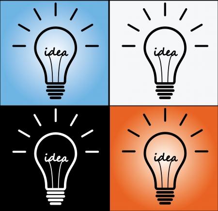 Idea Concept using light bulb in 4 different designs Stock Photo - 17479359